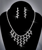 Crystal Rhinestone Necklace Chain and Earring Set, Crystal/Silver, NEC-2033