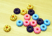 Assorted Resin Decoration Flat-back-24 Pcs Mixed Colours
