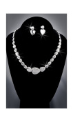 Crystal Rhinestone Heart Necklace Chain and Earring Set, Crystal/Silver NEC-2055