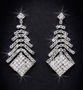 Crystal Rhinestone Earrings, 5.1cm - 0.3cm Long, Crystal/Silver NEC-4026