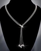 Crystal Rhinestone Necklace, Crystal/Rhodium NEC-2074