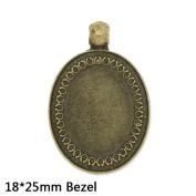 10pcs- Oval Antique Bronze Pendant Tray fit 18x25mm Cabochon