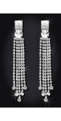 Crystal Rhinestone Earrings, 5.1cm - 2.2cm Long, Crystal/Silver EAR_4035