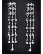 Crystal Rhinestone Earrings, 7.6cm - 2.2cm Long, Crystal/Silver EAR_4027