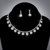 Bride Crystal Rhinestone Choker and Earring Set, CHO-5015