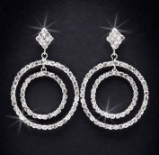 Crystal Rhinestone Earrings, 5.1cm Long, Crystal/Silver NEC-4028