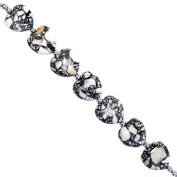 Fiona 21mm Heart Shape White Collage Stone Beads Strand