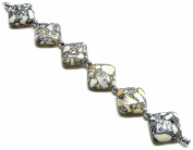 Linpeng Internationa Collage Diamond Shape Stone Beads Strand, 18cm , White/Grey