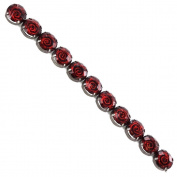 Fiona 110822-01 18cm Beads Strand with Red Rose Pattern Imprints
