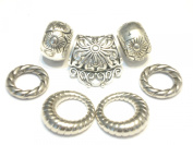 Scarf jewellery alloy scarf slides rings for jewellery with scarves, silver tone