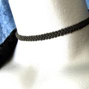 Adjustable 0.6cm Thin Black Swirl Choker Necklace -- Size Large