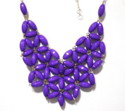 WIIPU purple fan bubble bib necklace,statement bubble necklace,bubble jewellery