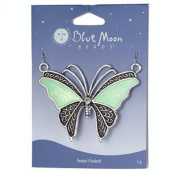 Blue Moon Butterfly Pendant Aqua and Antiqued Silver 5.7cm x 5.1cm