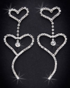 Crystal Rhinestone Heart Earrings, 7.6cm - 1.3cm Long, Crystal/Silver NEC-4030