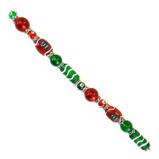 Fiona SUP-11-1 18cm Beads Strand, Christmas Tree and Decor Painted on Red and Green Glass Beads