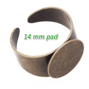 DIY Jewellery Findings- Antique Bronze Plated Adjustable Ring Base Blank with 14mm Pad- 20pcs/lot