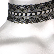 Wide Scalloped Galoon Black Lace Choker -- Size Large