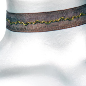 Copper and Brown Ribbon Choker Necklace -- Size Small
