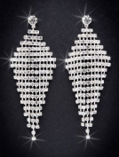 Crystal Rhinestone Earrings, 7.6cm - 0.6cm Long, Crystal/Silver NEC-4013