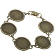 Vintage Style Antique Bronze Plated Bracelet with 5 Bezel Settings-fit 18mm Cabochon-5pcs