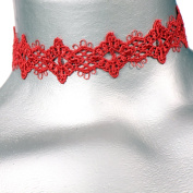 Diamond Filigree Red Venice Lace Choker -- Size Small