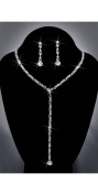 Crystal Rhinestone Necklace Chain and Earring Set, NEC-2083