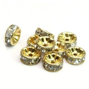 100pcs 8mm. Crystal Rondelle Spacer Bead Silver Plated Crystal Gold with White Crystal