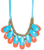 WIIPU Handmade blue & orange teardrop bubble necklace,statement bubble necklace,bubble jewellery