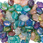 Lustre Leaf Beads Hand Crafted Pressed Glass Mixed Colours 12x9mm Lot of 100 beads