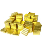 Cotton Filled Jewellery Gift Boxes Gold Colour 8.9cm 50Pcs