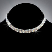 Bride Crystal Rhinestone 3-Row Stretch Choker, CHO-5018B