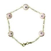 14K Gold Pink 5 Eye Evil Eye Bracelet
