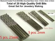 Assorted Pack of 20pcs. 4 Sizes 1mm 1.5mm 2mm 2.5mm Diamond Twist Drill Bit Jewellery Beach Sea Glass Shells Gemstones Lapidary