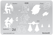 Plastic Stencil Template for Graphical Design Drawing Drafting Metal Clay Jewellery Jewellery Making - 2D Zodiac Signs Sign Aquarius Pisces Sagittarius Libra