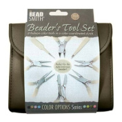 BEADSMITH 8 FASHION-CHOCOLATE colour TOOL SET FOR MAKING jewellery with COORDINATED CLUTCH CARRY CASE