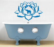 Hausewares Vinyl Decal Lotus Flower With Elephant Yoga Meditation Wall Art Decor Removable . Sticker Mural Unique Design for Room
