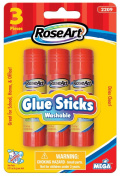 RoseArt Washable Glue Sticks, 3-Count, Packaging May Vary