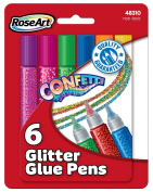 RoseArt Confetti Glitter Glue, 6-Count