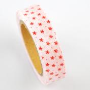 Lychee Craft Pink Stars Dot Fabric Washi Tape Decorative DIY Tape