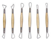Ribbon Cutting Tools Small 15cm Set of 6, Wood Handles Quality Pottery Tools