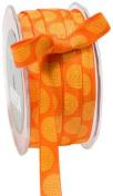 May Arts 1.3cm Wide Ribbon, Orange Grosgrain with Yellow Circles