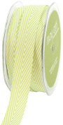 May Arts 1.9cm Wide Ribbon, Celery Twill with Chevron Stripes
