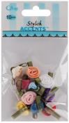 Ribbon Roses-Small 10/Pkg-Multi Colours
