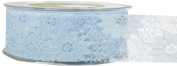 May Arts 3.8cm Wide Ribbon, Light Blue Lace