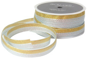 May Arts 1.6cm Wide Ribbon, Metallic Gold and Silver