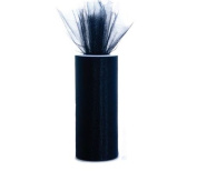 Black 15cm X 75 Ft (25 Yards) Tulle 100% Nylon