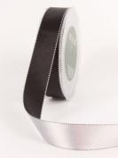 Stitched Edge Two Colour Reversible Satin Ribbon 2.5cm X30 Yards-Black/Silver