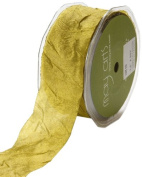 May Arts 3.8cm Wide Ribbon, Olive Silk Crush