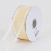 Ivory Organza Ribbon Two Striped Satin Edge 1cm 25 Yards