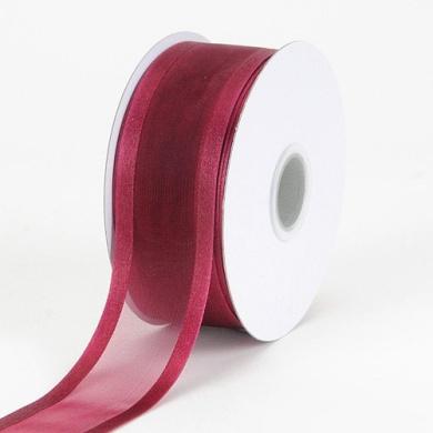 Burgundy Organza Ribbon Two Striped Satin Edge 1.6cm 25 Yards